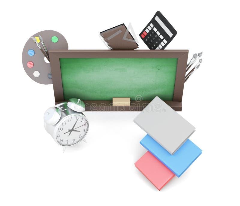 Зеленые доски и школьные принадлежности на белой предпосылке бесплатная иллюстрация