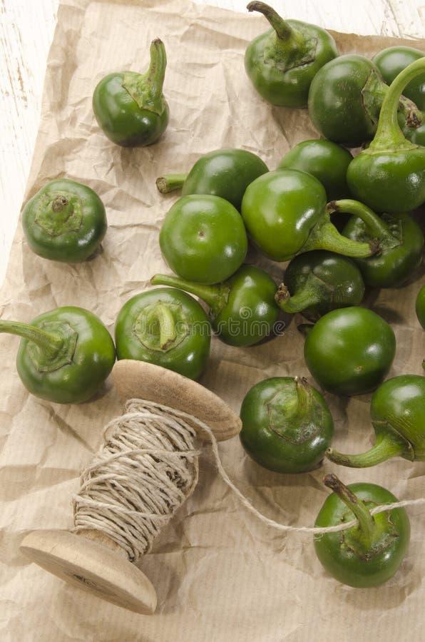 Зеленые перцы вишни подготавливают высушить стоковое изображение