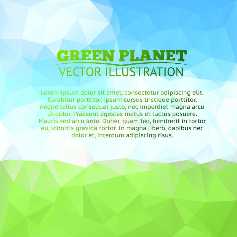 Зеленые поле и дерево с голубым небом иллюстрация штока
