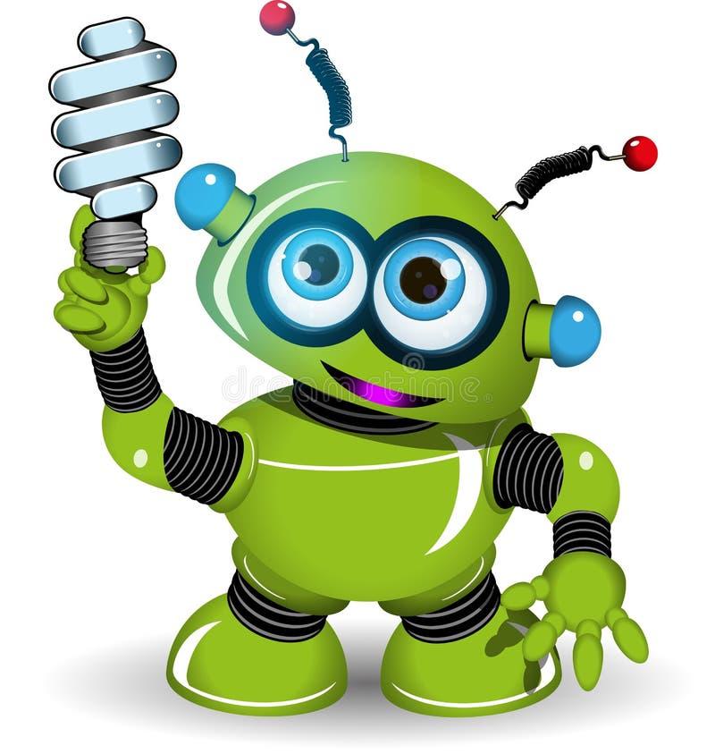 Зеленые робот и лампа иллюстрация вектора