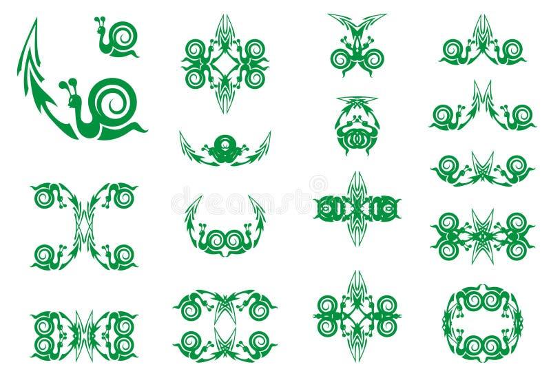Зеленые символы улитки с стрелкой иллюстрация вектора