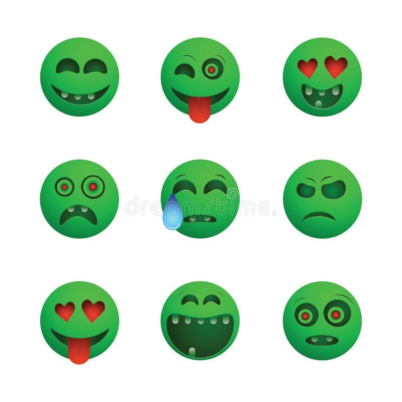 Зеленые смайлики зомби иллюстрация вектора