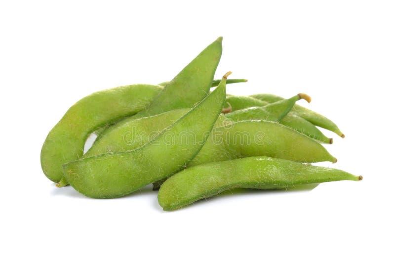 Зеленые сои на белой предпосылке стоковые изображения rf