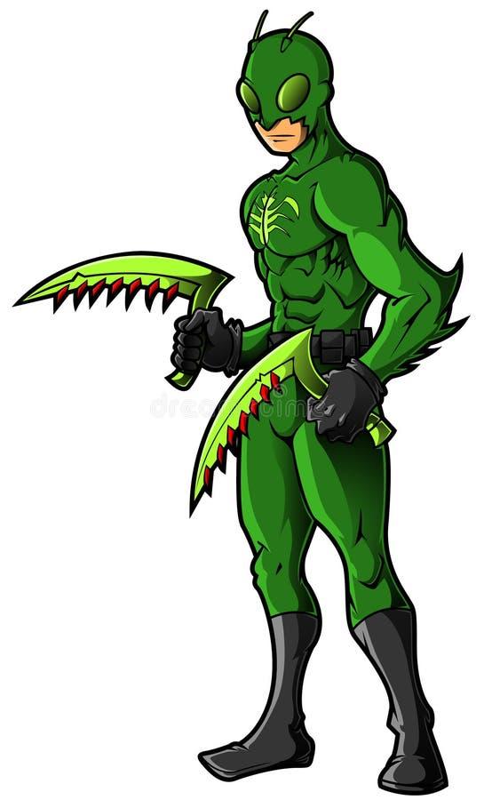 Зеленые супергерой или злодейка насекомого иллюстрация штока