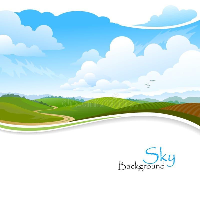 Зеленые холмы, голубое небо и сиротливое тропа иллюстрация вектора