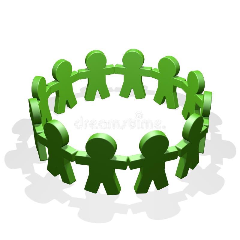 Зеленые люди соединились в круге держа их руки иллюстрация штока