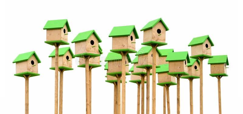 Зеленые birdhouses стоковое изображение