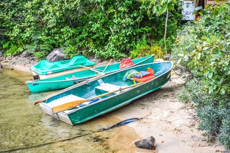 Зеленые pedalo, шлюпка и каное в национальном парке стоковое изображение rf