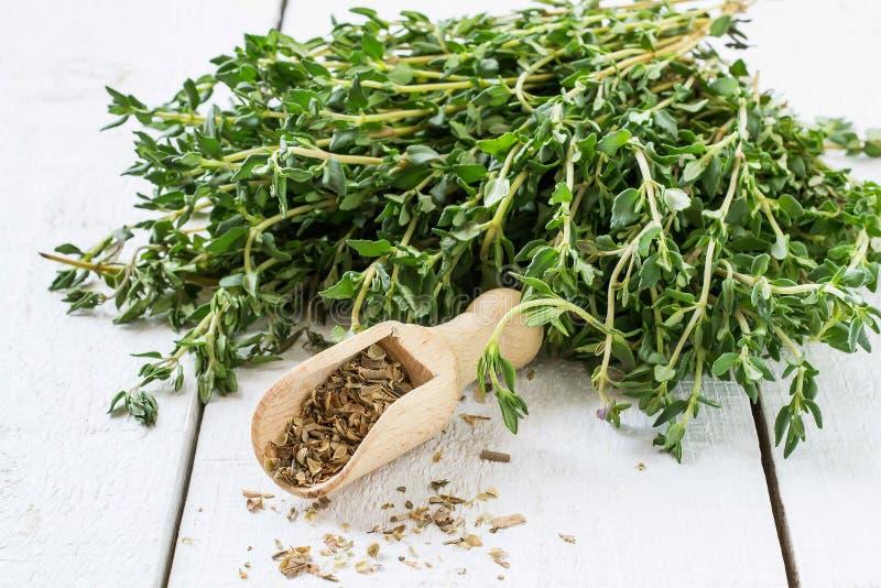 Зеленые sprigs тимиана и высушенного тимиана в ветроуловителе стоковые фотографии rf