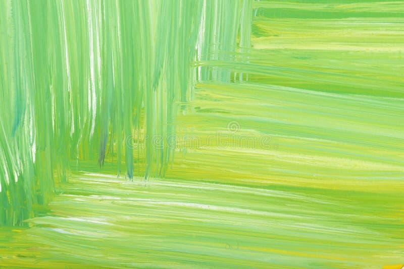 Зеленый абстрактный покрашенный вручную ход щетки гуаши малюет текстура предпосылки бесплатная иллюстрация
