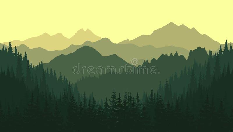 Зеленый ландшафт горы в лете Безшовная предпосылка иллюстрация штока