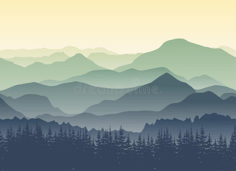 Зеленый ландшафт гор в лете Безшовная предпосылка иллюстрация штока