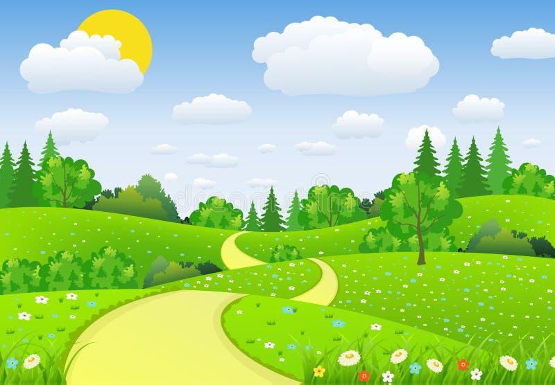 Зеленый ландшафт с цветками облаков деревьев иллюстрация вектора