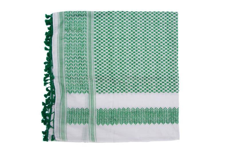 Зеленый арабский шарф изолированный на белой предпосылке стоковые фото