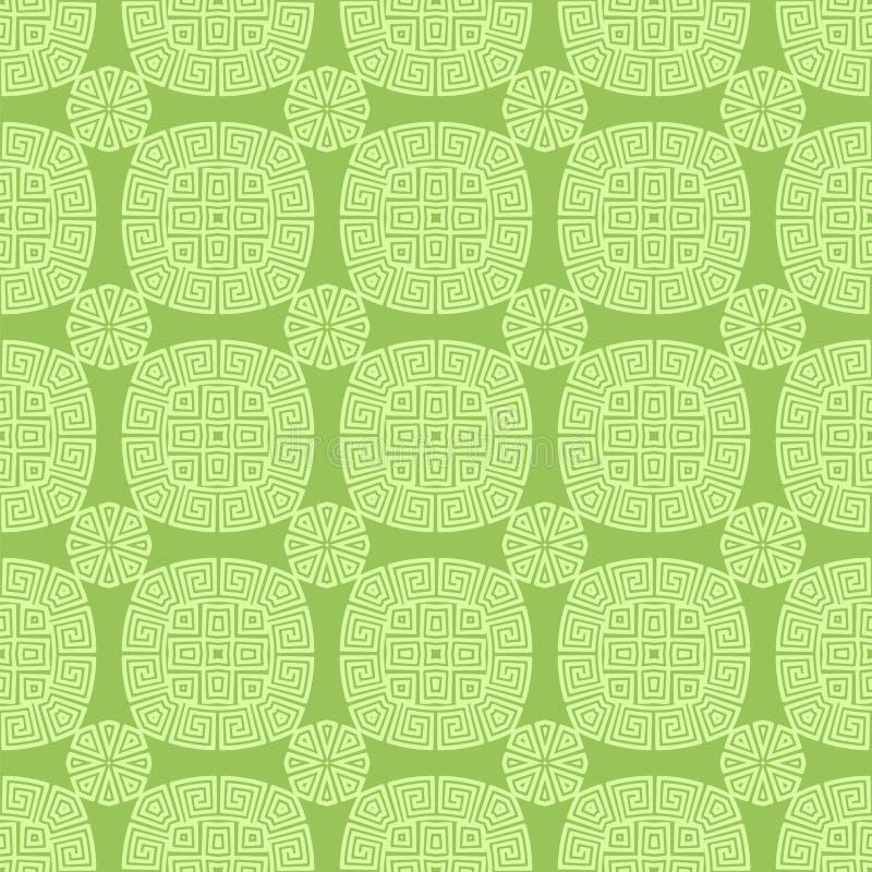 Зеленый безшовный геометрический греческий орнамент бесплатная иллюстрация