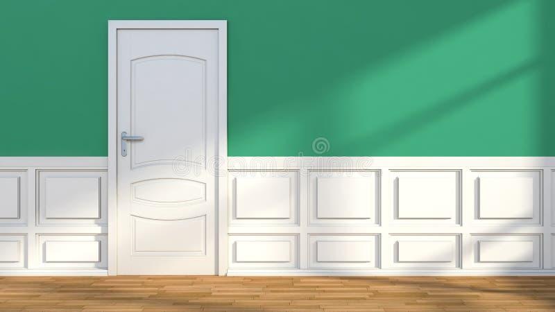Зеленый белый классический интерьер с дверью иллюстрация вектора