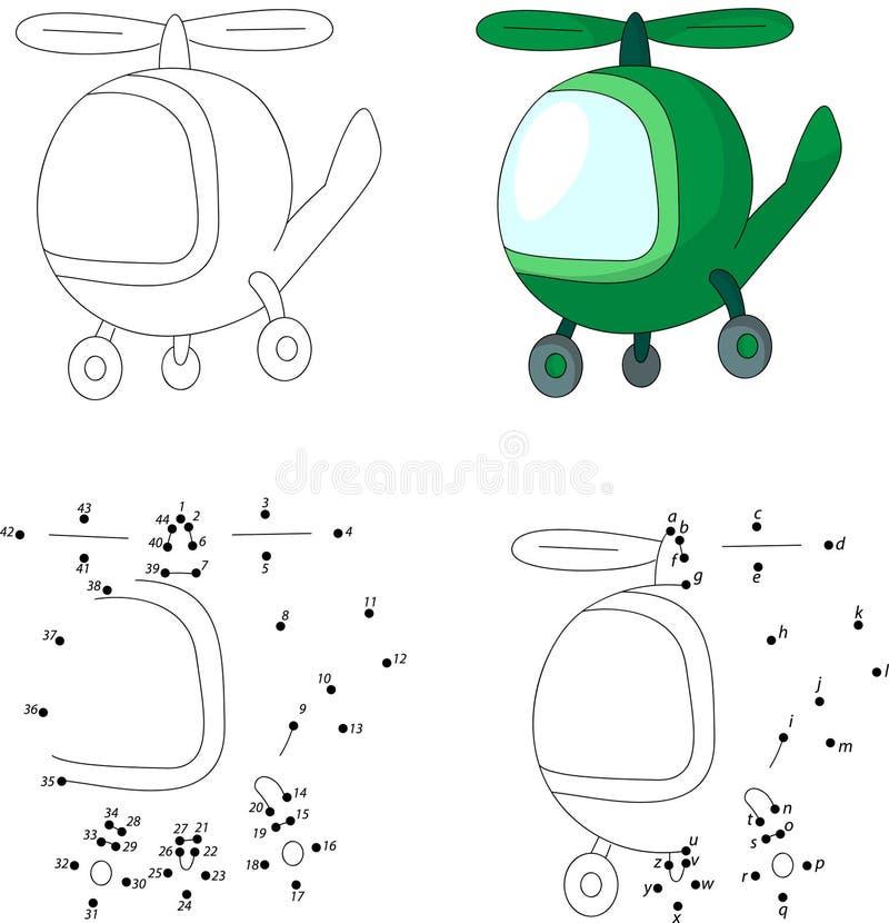 Зеленый вертолет Книжка-раскраска и точка для того чтобы поставить точки игра для детей иллюстрация вектора