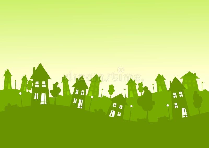 Зеленый город силуэта расквартировывает горизонт иллюстрация штока