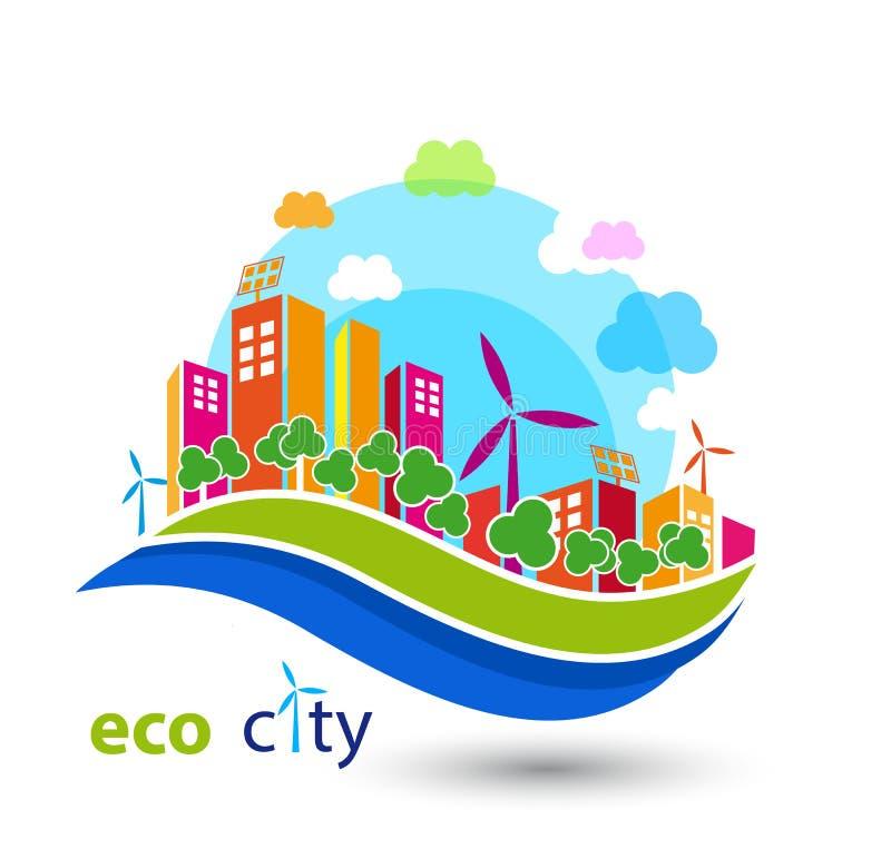 Зеленый город eco с домами бесплатная иллюстрация