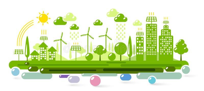 Зеленый город Eco иллюстрация вектора
