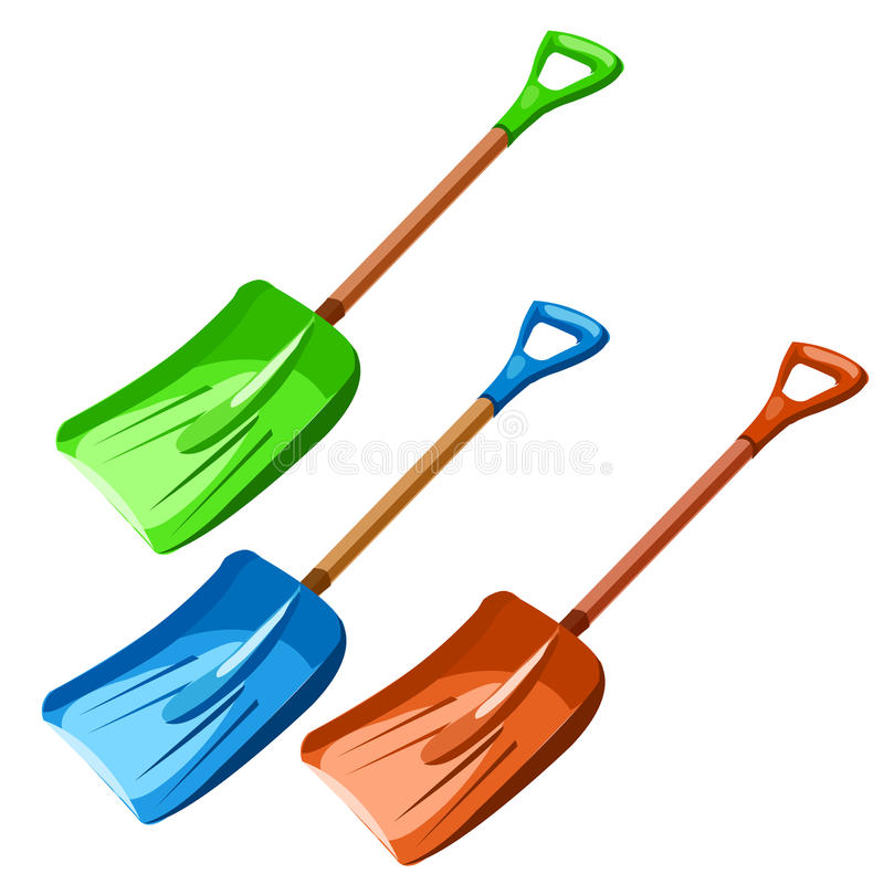 Зеленый, голубой и красный пластичный dustpan иллюстрация штока