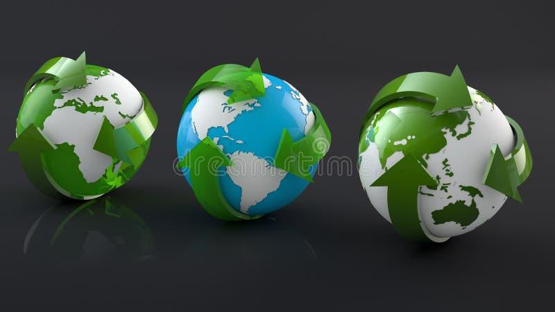 Зеленый живущий рециркулируя мир стоковое фото rf