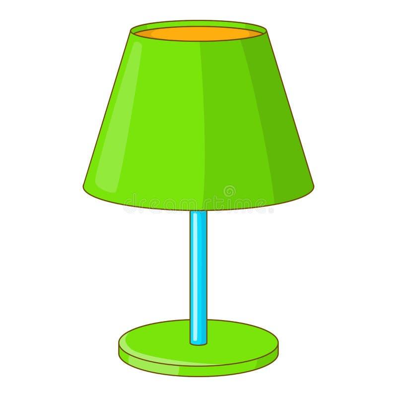 Зеленый значок лампы стола, стиль шаржа иллюстрация штока