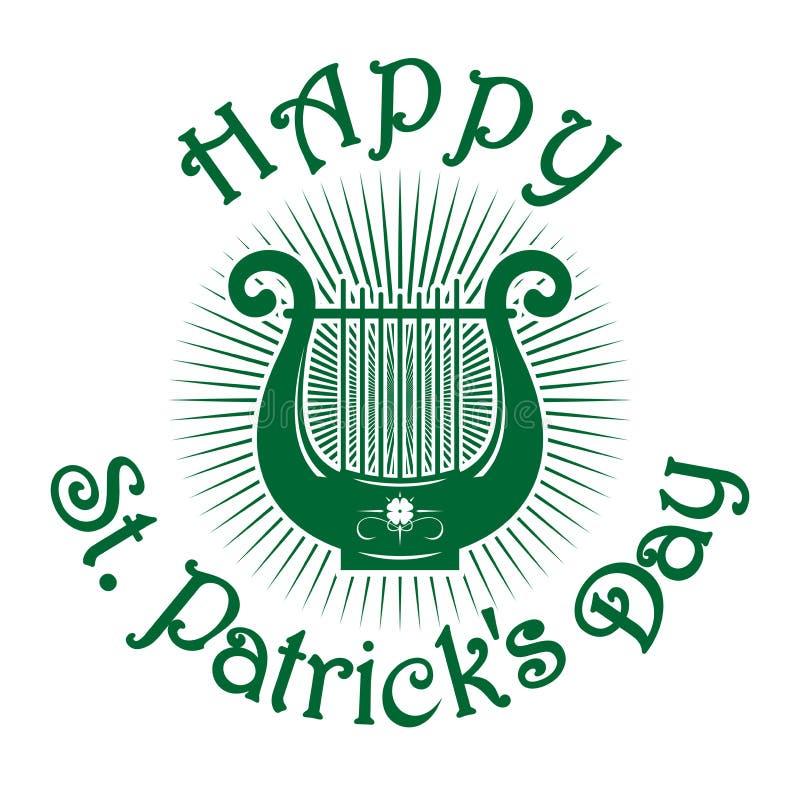 Зеленый значок лиры st patricks дня счастливый иллюстрация вектора