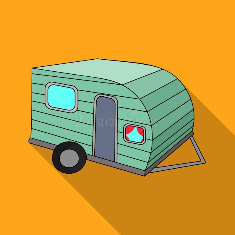 Зеленый значок каравана в плоском стиле изолированный на белой предпосылке Иллюстрация вектора запаса символа праздника семьи бесплатная иллюстрация