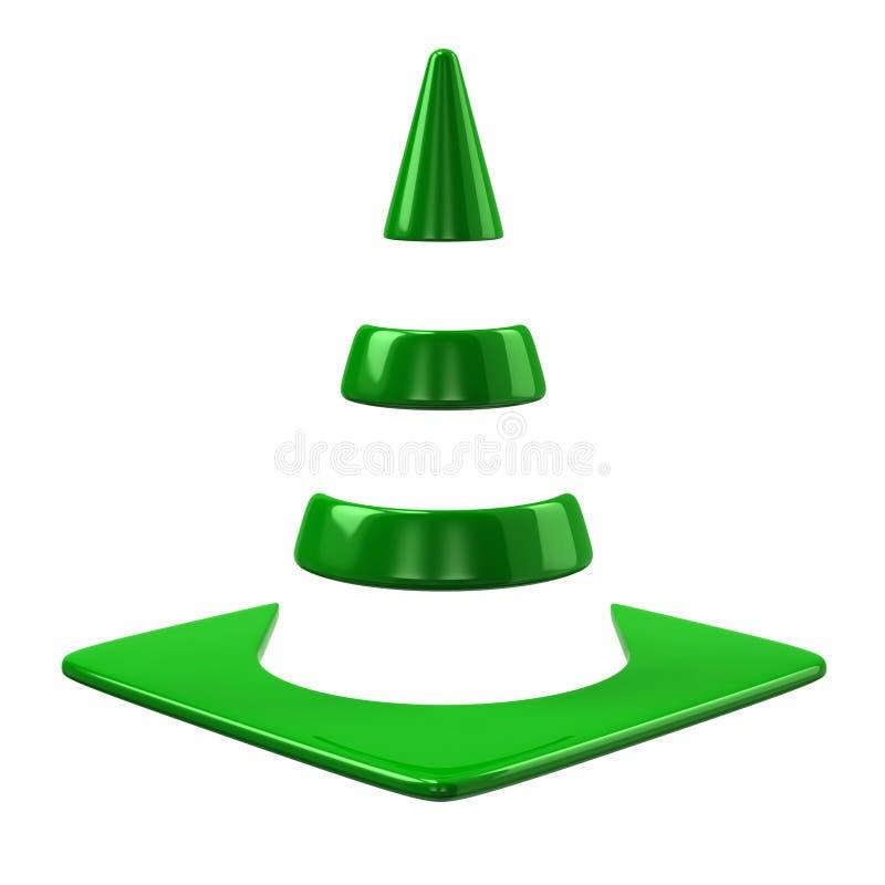 Зеленый значок конуса движения иллюстрация вектора