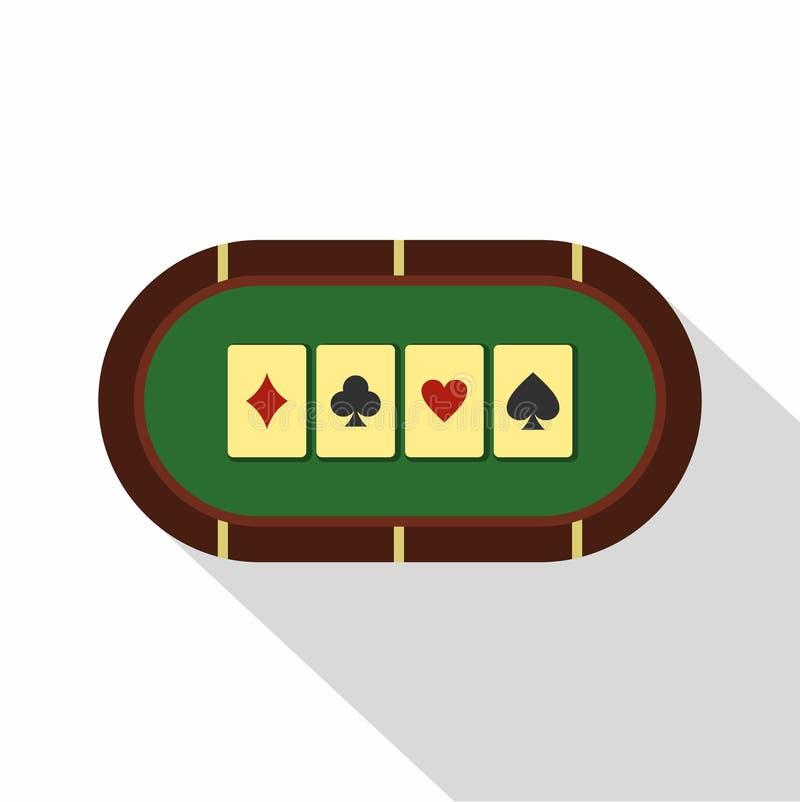 Зеленый значок таблицы покера, плоский стиль иллюстрация вектора