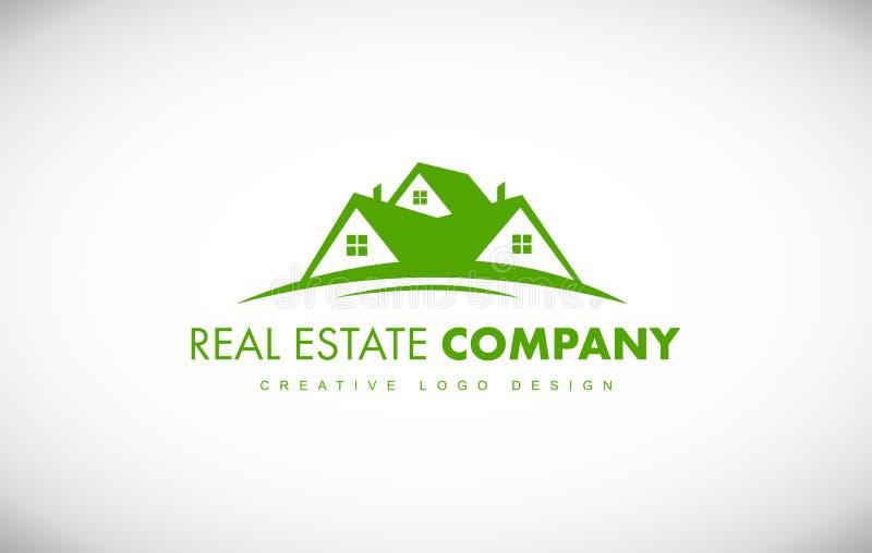 Зеленый дизайн значка логотипа дома недвижимости иллюстрация вектора