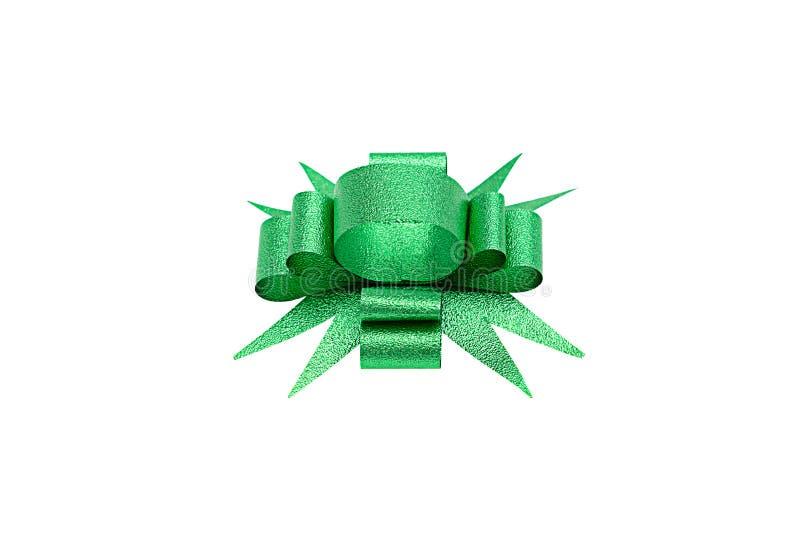 Зеленый изолированный смычок ленты стоковая фотография