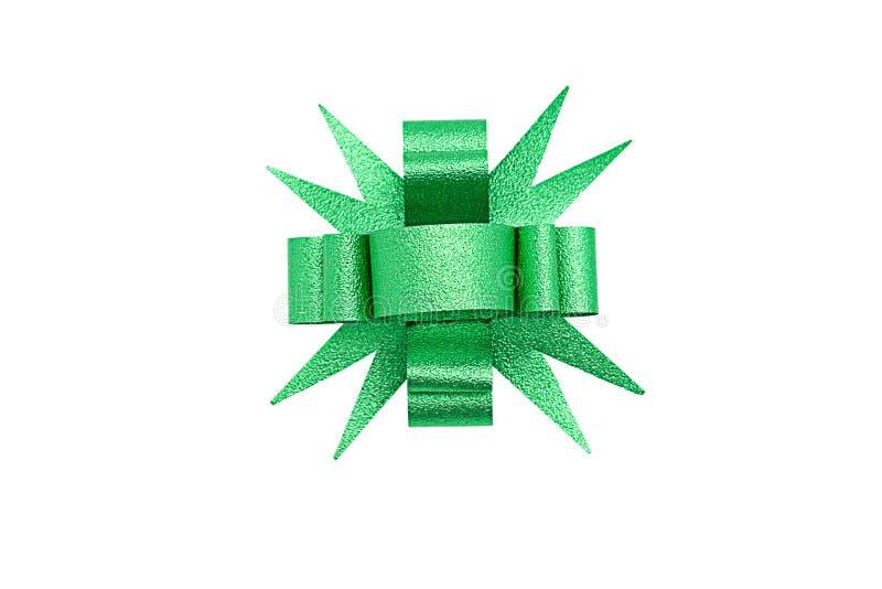 Зеленый изолированный смычок ленты стоковые фото