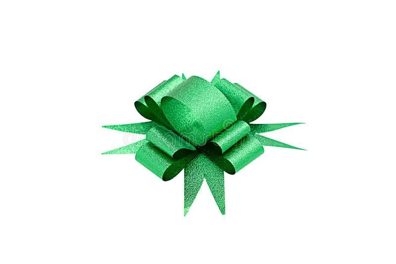 Зеленый изолированный смычок ленты стоковая фотография rf