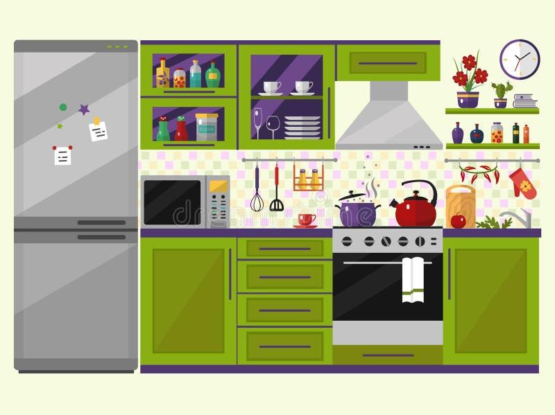 Зеленый интерьер кухни с утварями, едой и приборами бесплатная иллюстрация
