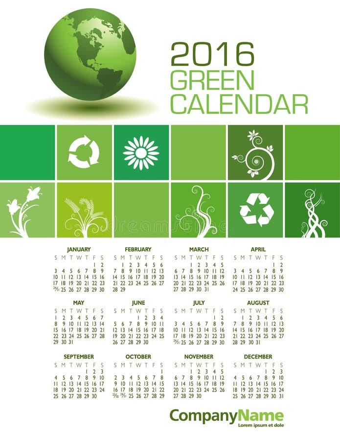 Зеленый календарь элегантные 2016 иллюстрация вектора