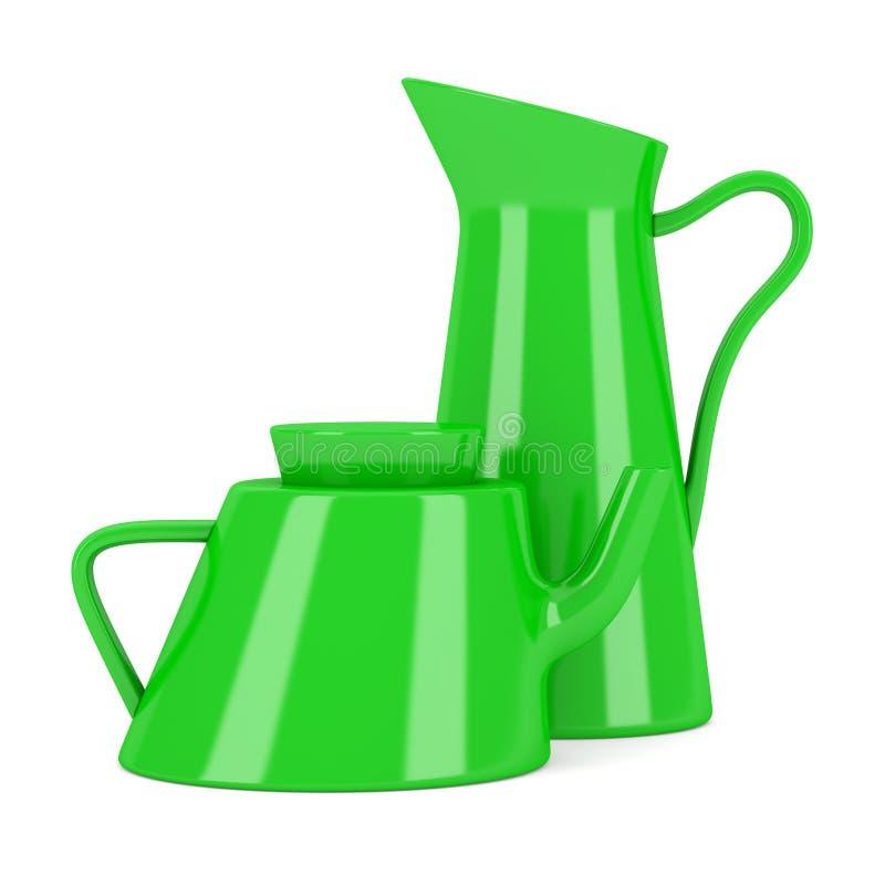 Зеленый керамические кувшин и чайник изолированные на белизне иллюстрация вектора