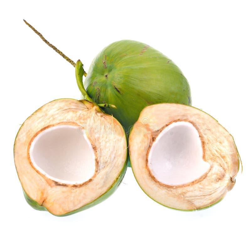Зеленый кокос изолированный на белой предпосылке стоковые изображения rf