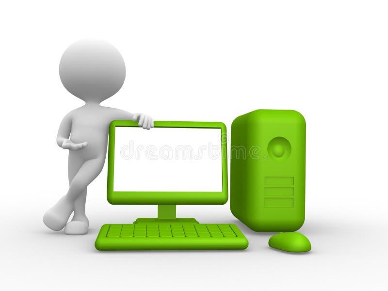 Зеленый компьютер иллюстрация вектора