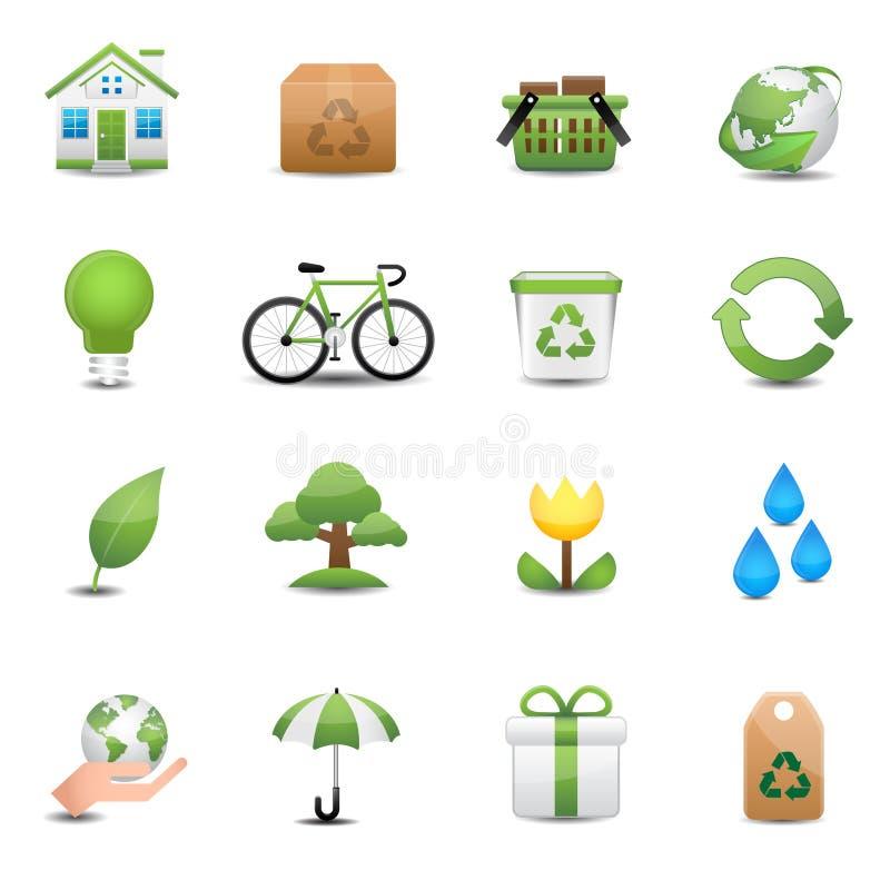 Зеленый комплект значка экологичности иллюстрация вектора