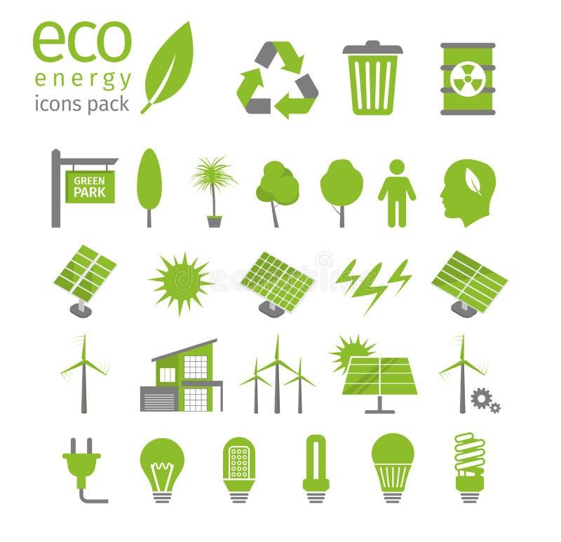 Зеленый комплект энергии и значка экологичности также вектор иллюстрации притяжки corel иллюстрация штока