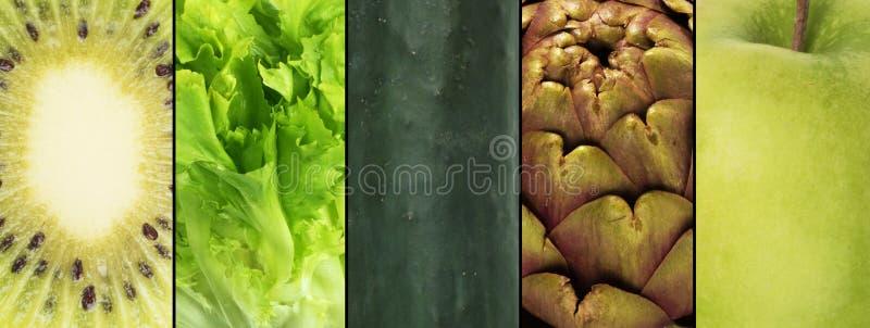 Зеленый коллаж плодоовощ стоковое фото rf