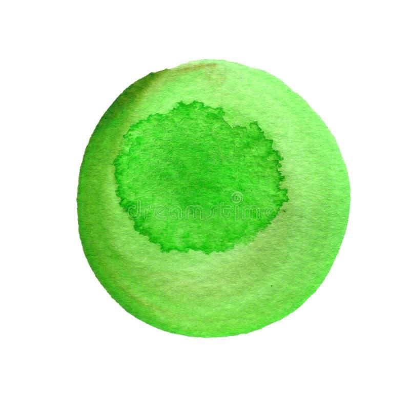 Зеленый круглый ход щетки акварели изолированный на белизне Watercolour пятнает текстуру рука нарисованная предпосылкой грубо бесплатная иллюстрация