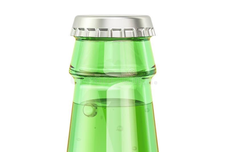 Зеленый крупный план стеклянной бутылки, перевод 3D иллюстрация вектора