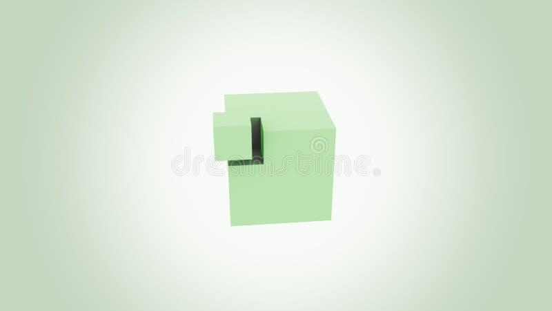 Зеленый куб собирая Концепции увеличения, добавления, роста и экологичности перевод 3d стоковые фото