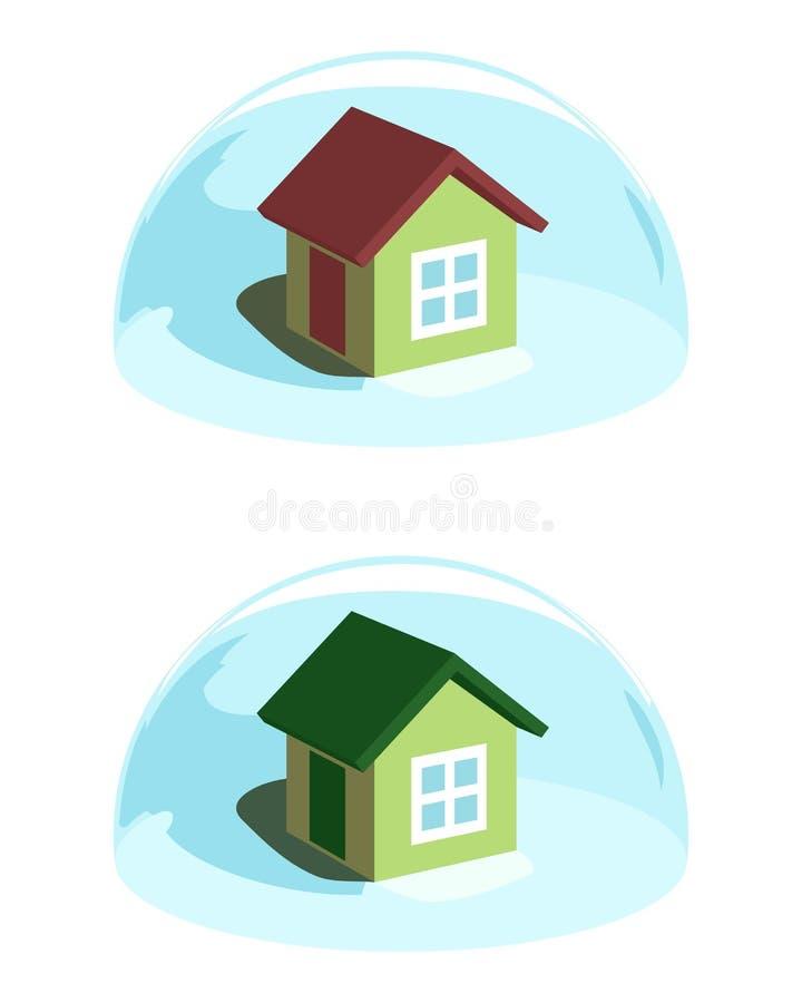 Зеленый дом под голубым предохранением от купола иллюстрация штока