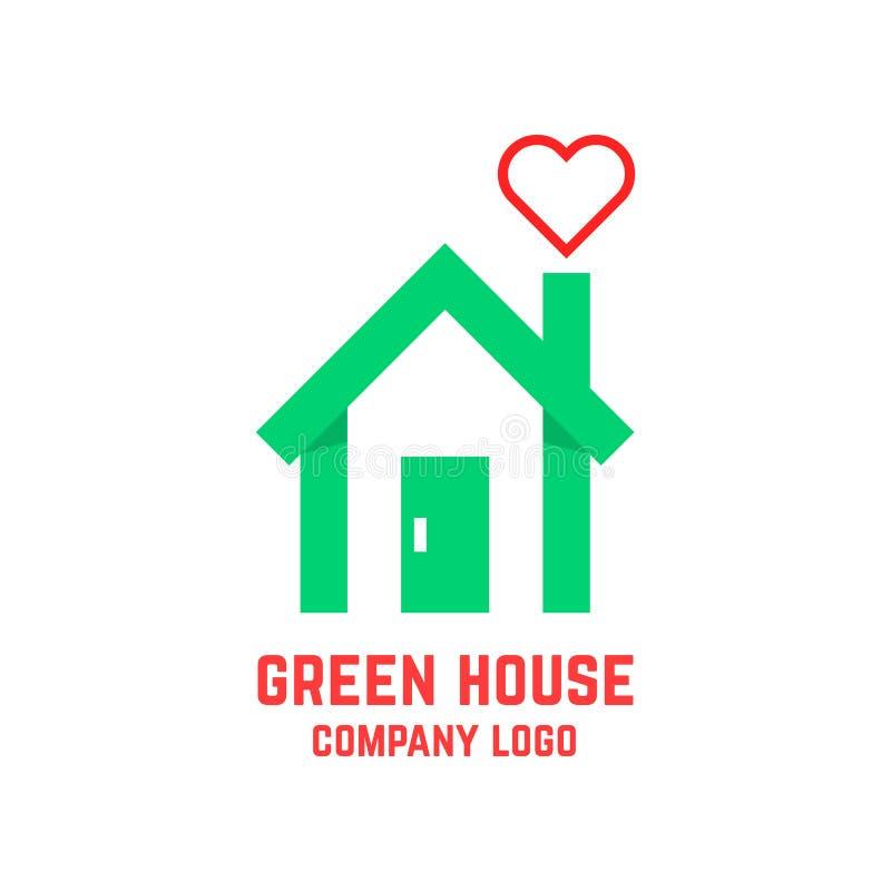 Зеленый дом с линией сердцем вместо дыма иллюстрация вектора