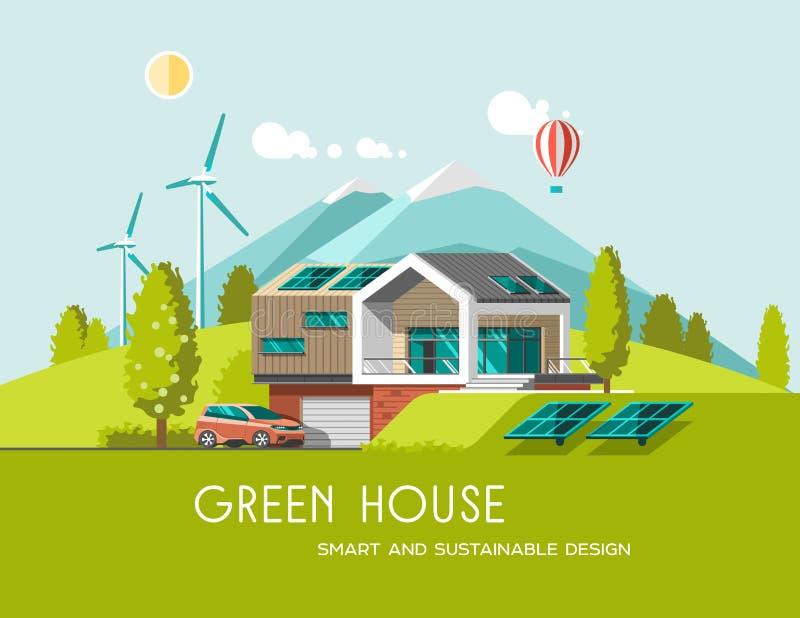 Зеленый дом энергии и eco дружелюбный современный на горе благоустраивает предпосылку Солнечный, энергия ветра иллюстрация вектора