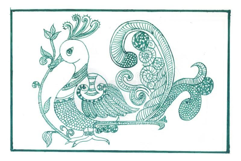 Зеленый павлин Madhubani стоковые изображения rf